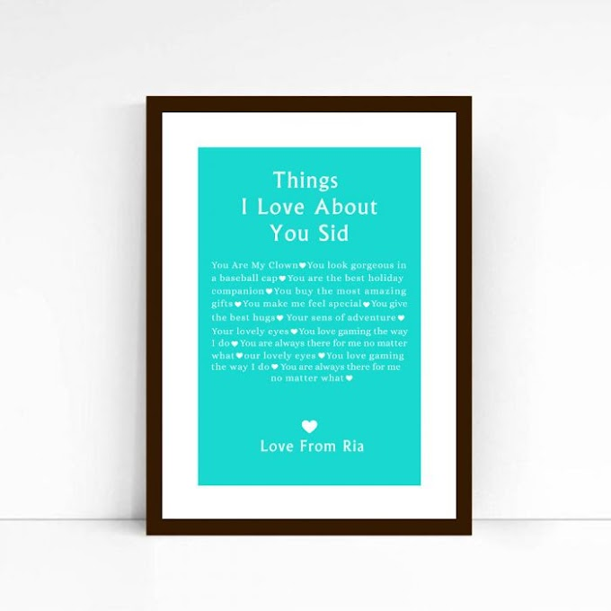 Things I Love About You Poster Frame