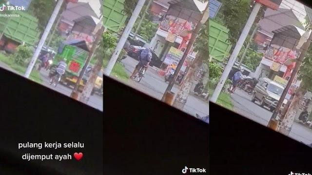 Video Wanita Dijemput Sang Ayah Pakai Sepeda Ontel Viral di Media Sosial