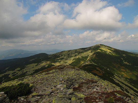 Zejście na przełęcz. Za przełęczą wznosi się Wysoka.