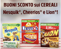 Logo Buoni sconto Nestlè : Nesquik, Cheerios e Lion