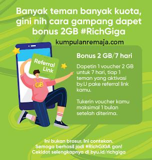 cara mendapatkan Kouta Gratis 2 GB dari Promo Rich Giga By U