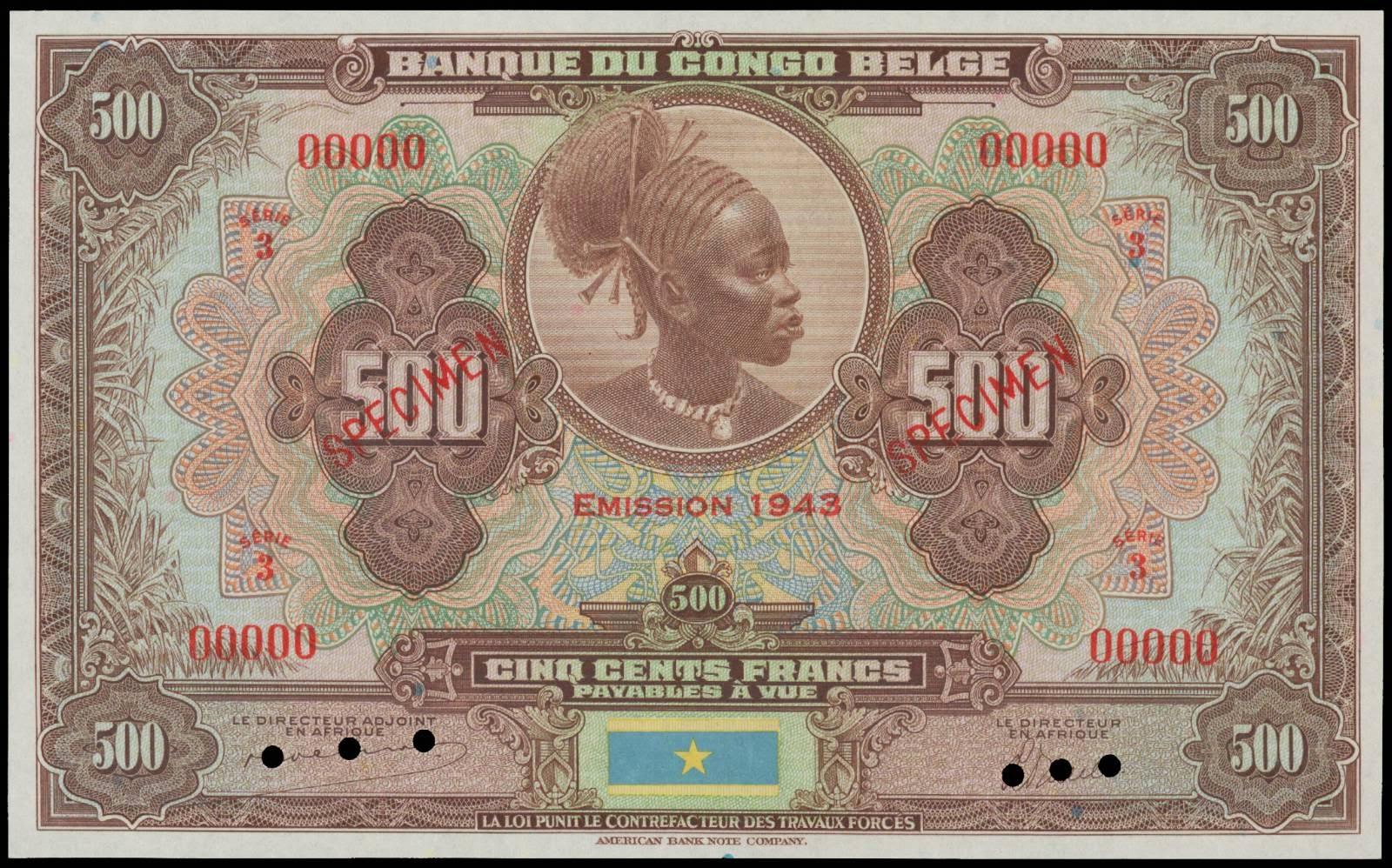 Belgian Congo 500 Francs Mangbetu woman