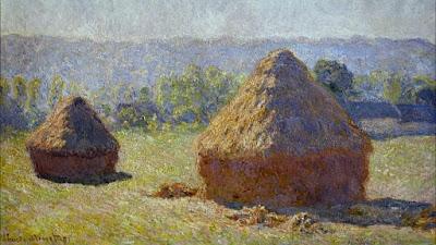 """Reprodução da obra """"Montes de Feno pela Manhã, Final do Verão"""", do pintor impressionista Claude Monet - Divulgação"""