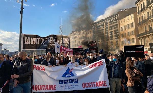 Manifestation de restaurateurs à Marseille, cafetiers et gérants de discothèque : «La faim est proche...!»