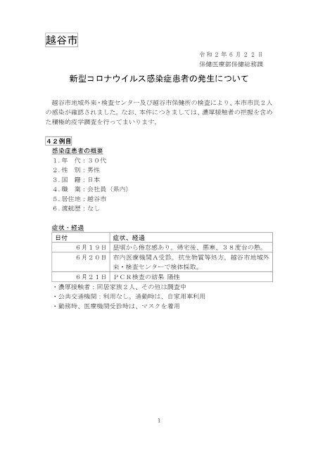 新型コロナウイルス感染症患者の発生について(6月22日発表)