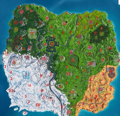 Fortnite, All Treasure Chests, Locations Map, 14 Days Event