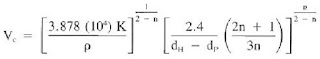 critical velocity equation power law model