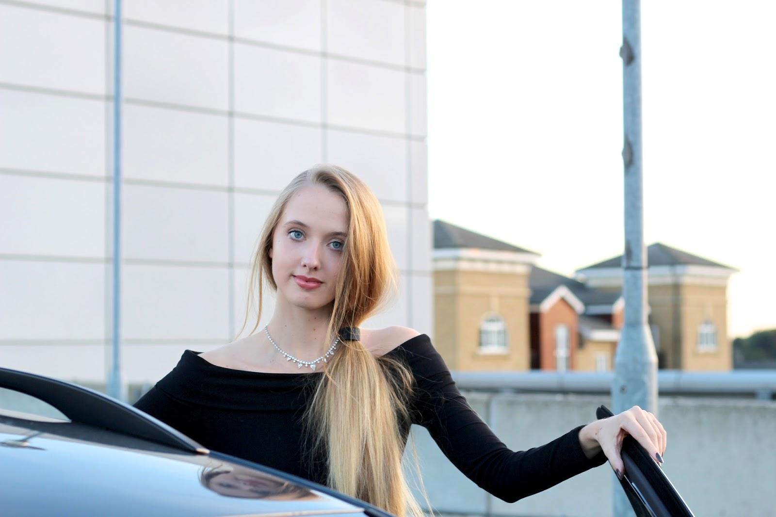 UK fashion blogger styling long sleeved bardot top