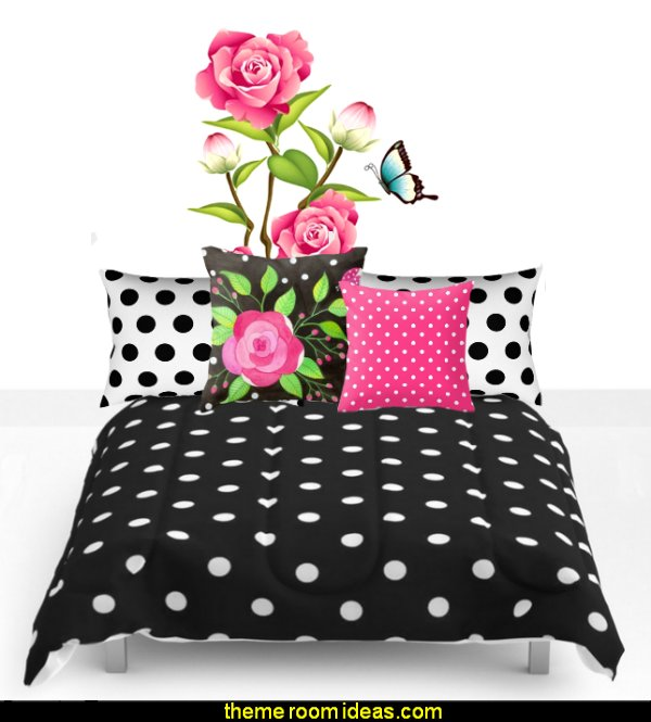 polka dot bedding polka dot pillows rose wall decal
