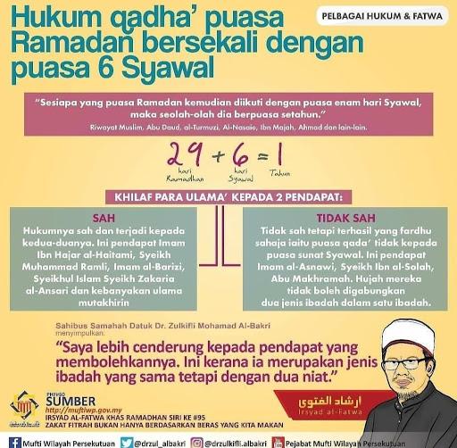 Hukum Qadha Puasa Ramadan Bersekali Dengan Puasa 6 Syawal