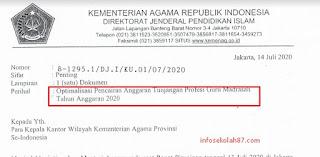 Download Surat Edaran Optimalisasi Pencairan Anggaran Tunjangan Profesi Guru Madrasah Tahun Anggaran 2020