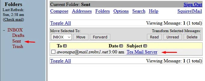 sent email