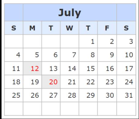 Kalender July 2021