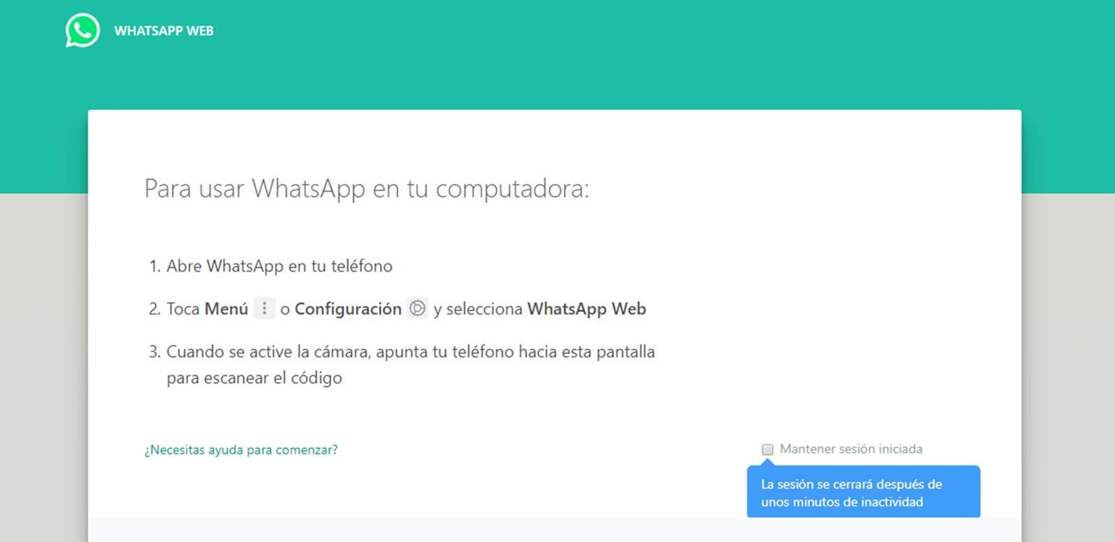 La pantalla de inicio de sesión de WhatsApp Web