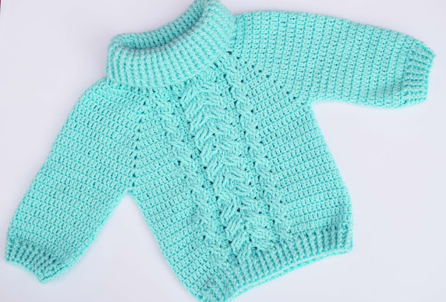 2-Crochet Imagen Jersey de espigas y ochos a crochet y ganchillo por Majovel Crochet