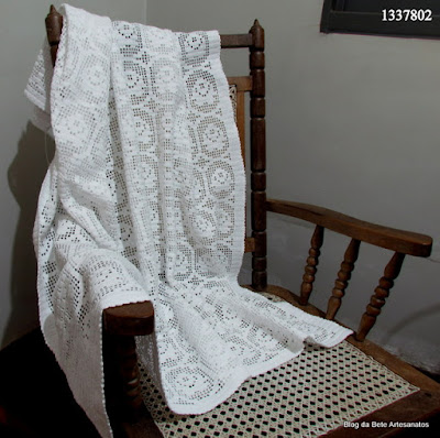 Manta para sofá em crochê, crochê filé