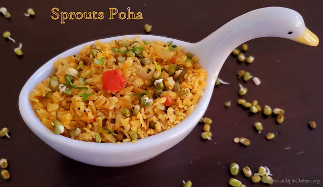 images of Sprouts Poha / Moong Sprouts Poha Recipe / Flattened Rice With Green Gram Sprouts / Easy Breakfast Recipes