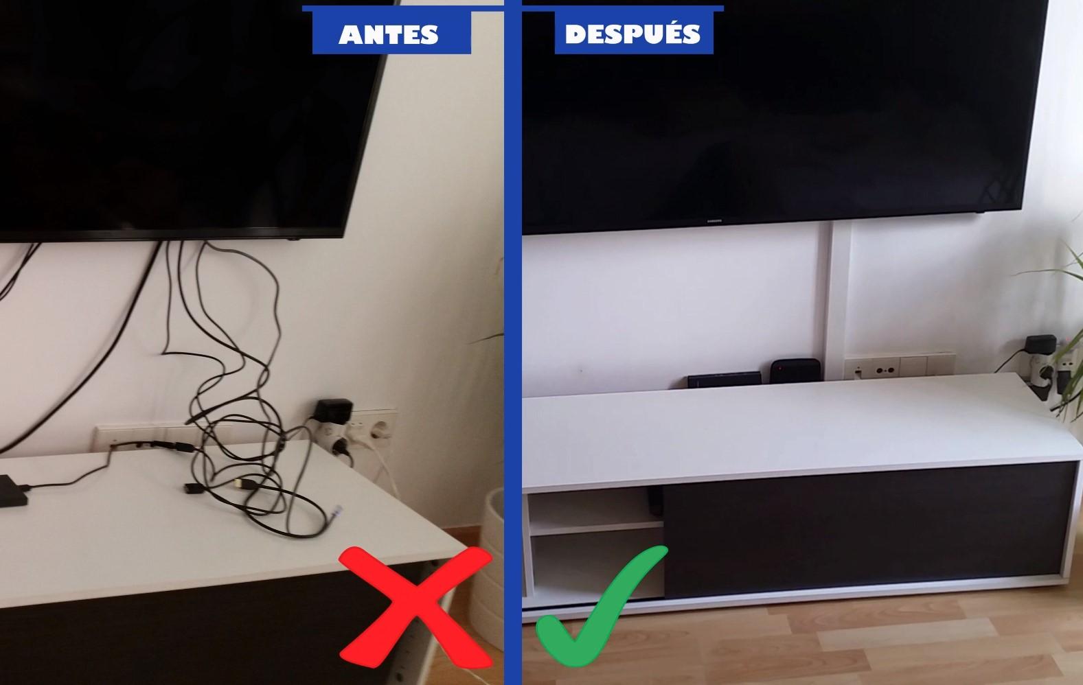 En un par de minutos esconda el desorden de cables del televisor