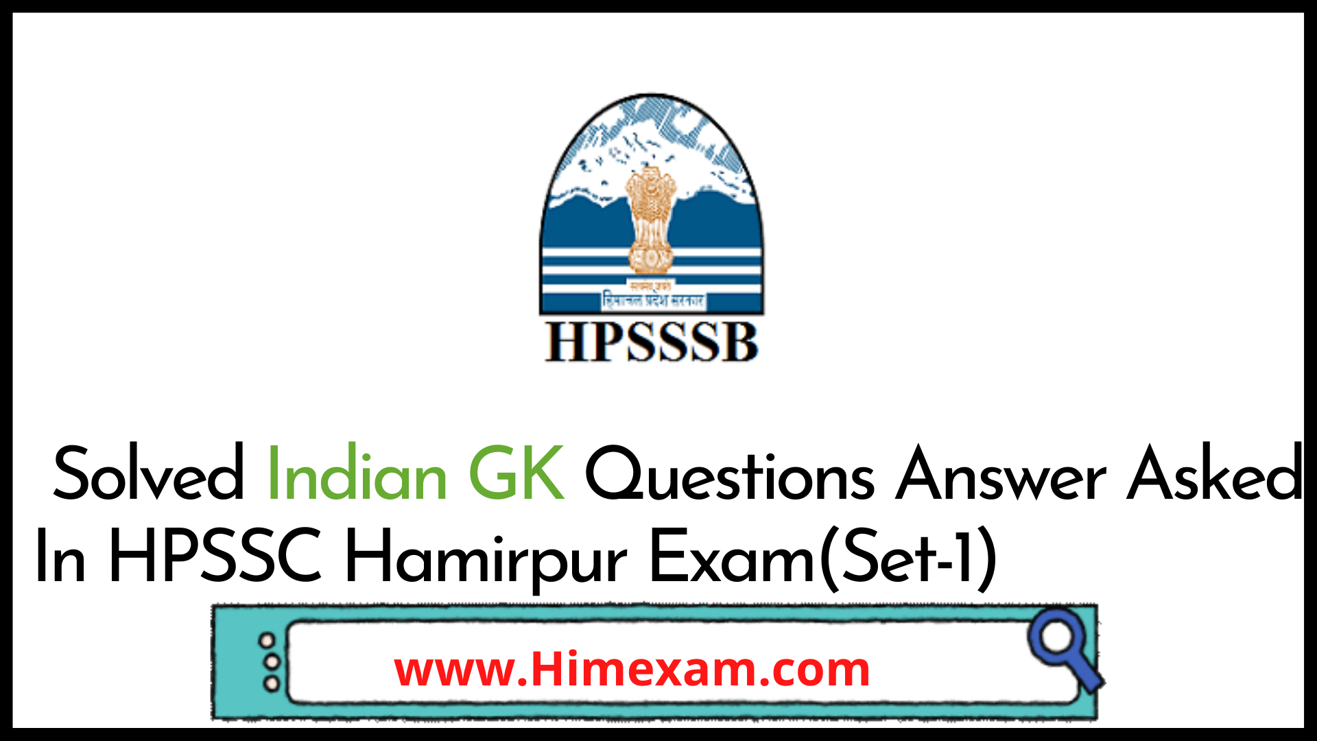 Solved Indian GK Questions Answer Asked In HPSSC Hamirpur Exam(Set-1)