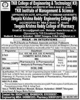 TKR College of Engineering and Technology Professors, Assistant professors
