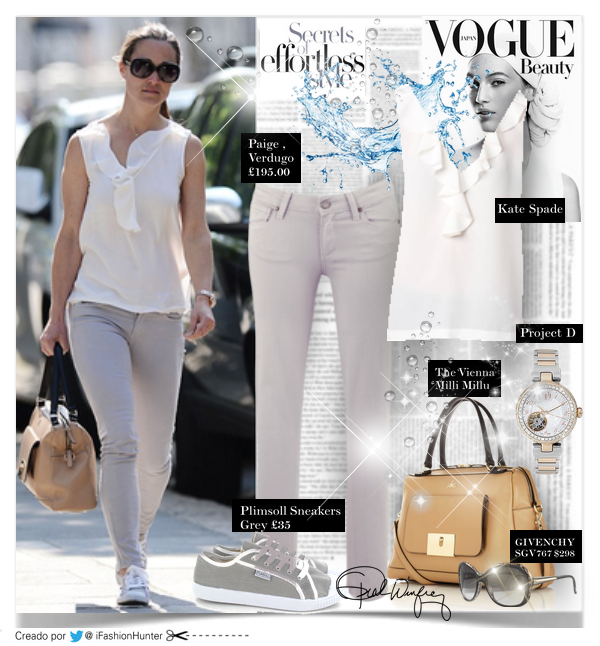 "PIPPA MIDDLETON LOOK   TOP:  Kate Spade - Beckie  PANTALONES:  Paige  - ""Verdugo"" Ankle Skinny color: Metal £195.00  BOLSO: Milli Millu ""The Vienna"" £475  ZAPATILLAS: Plimsoll Sneakers Grey  £35.00  ANTEOJOS DE SOL: GIVENCHY SGV767 $298  RELOJ /BRACELETE: Project D London ladies' two colour bracelet watch £575"
