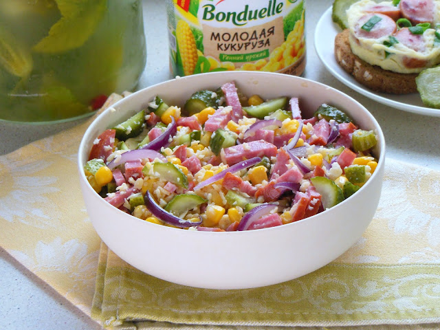 Salad with Corn and Salted Cucumbers