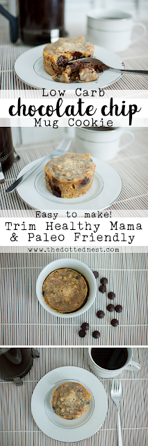 Easy to make and Trim Healthy Mama and Paleo Friendly Low Carb Chocolate Chip Mug Cookie