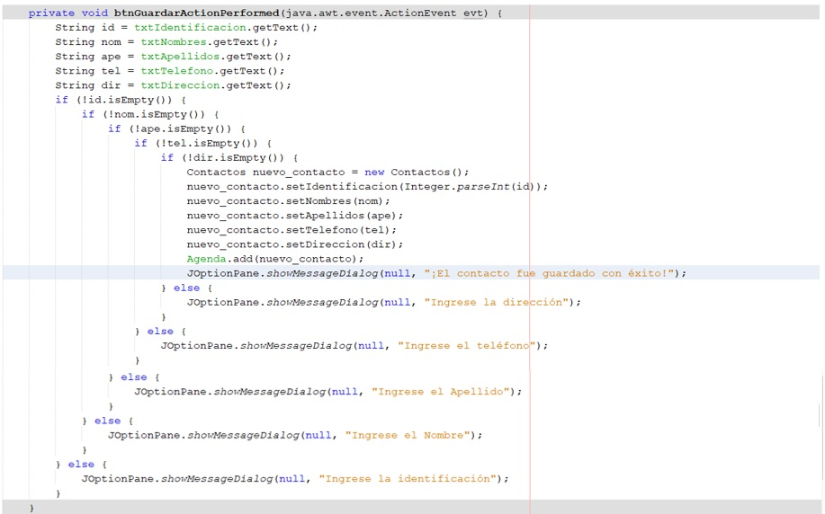 Código botón guardar en Java