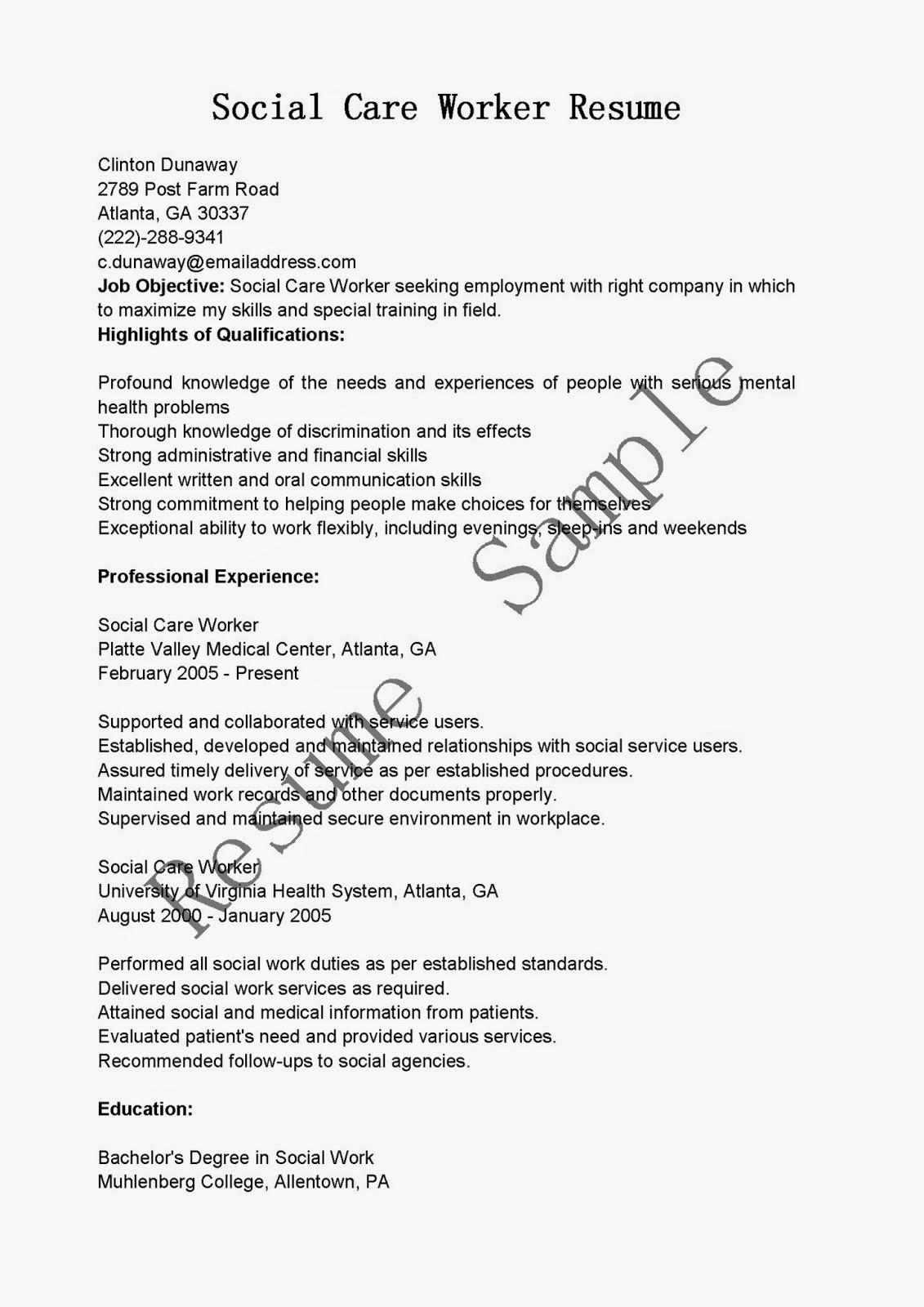 resume samples social care worker resume sample