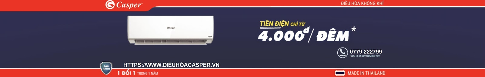 ĐIỀU HÒA CASPER 2021 TIẾT KIỆM ĐIỆN 85% CHỈ 4.000đ / 1 ĐÊM