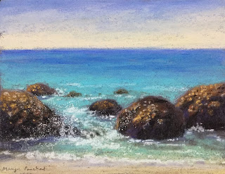 A soft pastel painting of Bogmolo beach by Indian Artist and art blogger Manju Panchal