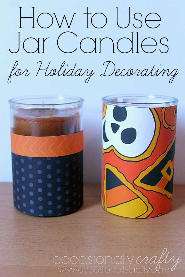 How to use Jar Candles in your Holiday Decorating.  Use chalk paint or scrapbook paper to make your candles as festive as your decor!