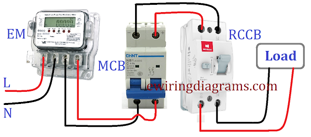 RCCB Wiring Connection Diagram With MCB