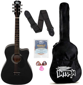 Intern INT-38C-BK-G Cutaway Right Handed Acoustic Guitar Kit With Bag Strings Pick And Strap (Black 6 Strings)