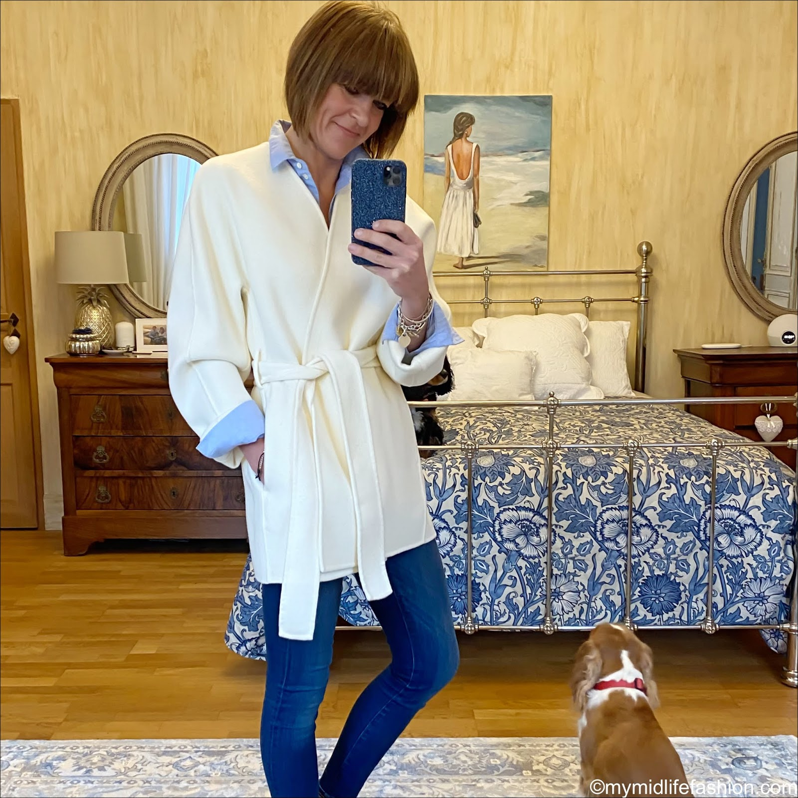 my midlife fashion, jigsaw double face wrap coat, sezane tomboy shirt, j crew 8 inch toothpick jeans, golden goose superstar low top leather trainers