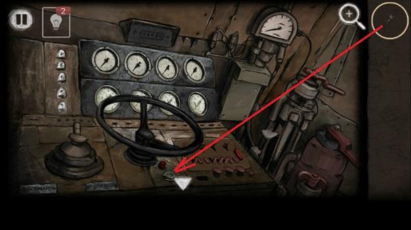 в кабине поезда вставляем ключ и отправляем поезд в игре выход из заброшенной шахты