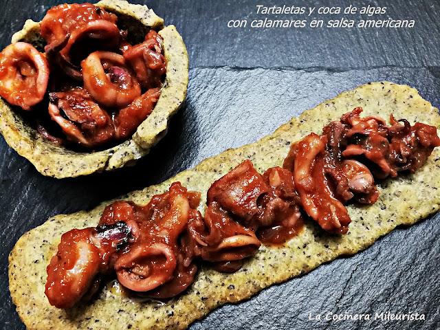 Tartaletas Y Coca De Algas Con Calamares En Salsa Americana