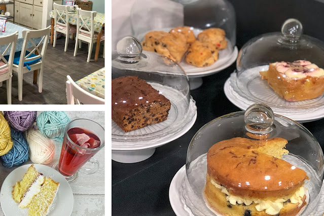 Three photos showing cafe seating (top left), a slice of cake on a plate with a glass mug of tea and balls of yarn (bottom left) and cakes under glass domes (right)