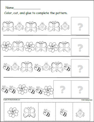 Free Butterfly Patterns Worksheet Spring Patterns Cut and Paste