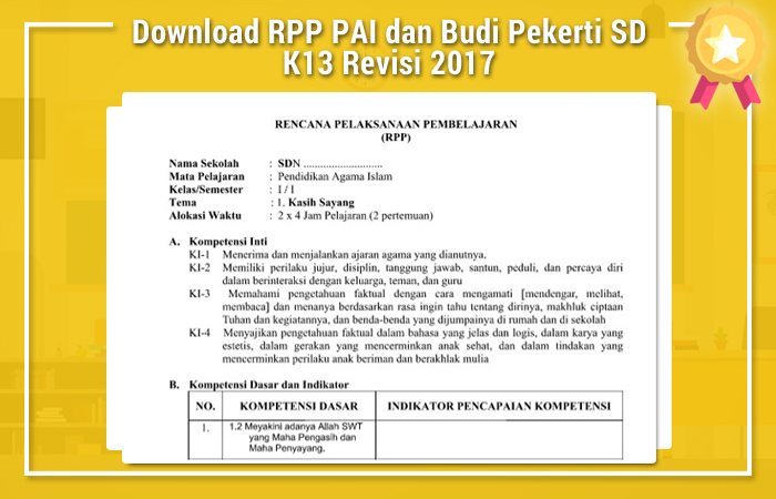 Download RPP PAI dan Budi Pekerti SD K13 Revisi 2017