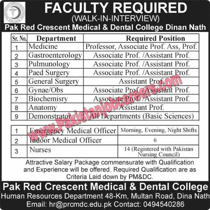 Pak Red Crescent (PRC) Medical / Dental College Dina Nath Jobs 2019 for Medical & Teaching Staff Latest