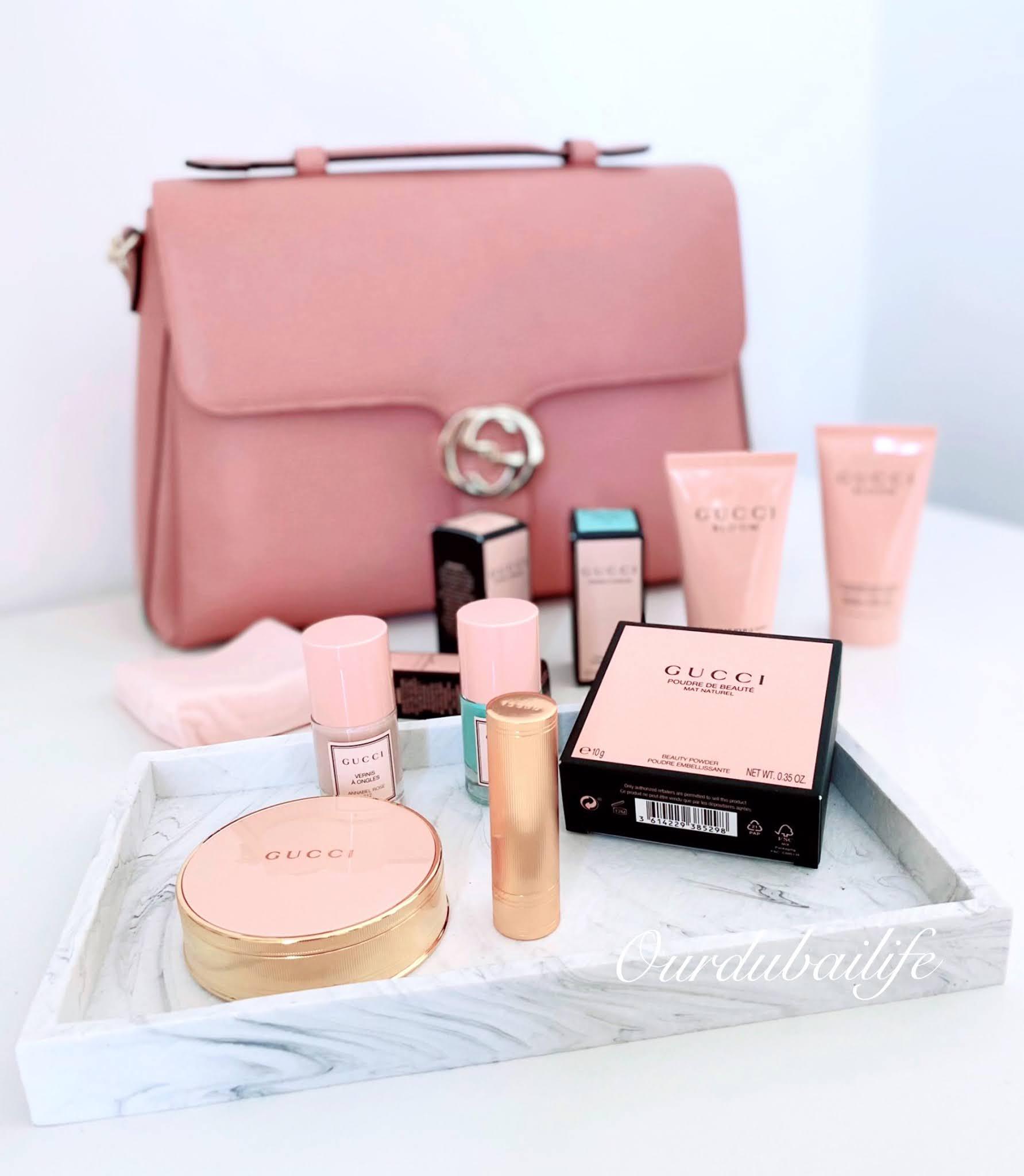 Gucci Pink bag and Gucci 2020 makeup