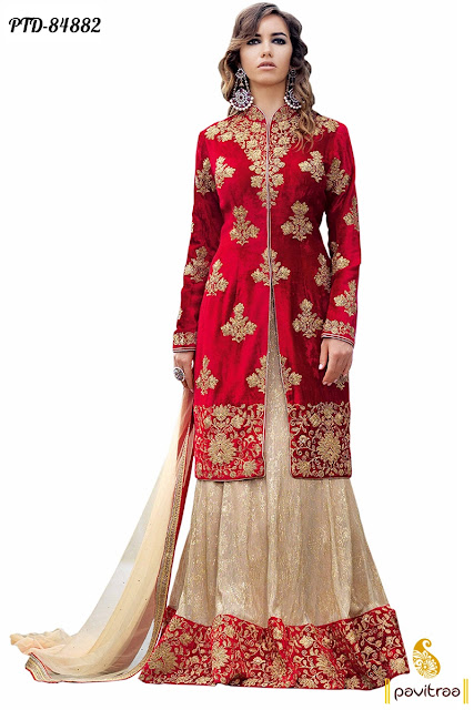 Long length anarkali suit with long middle cut jacket online shopping