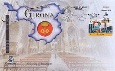 sobre, matasellos, Gerona, Girona, sello, filatelia