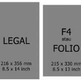 Ukuran Kertas Legal dalam cm