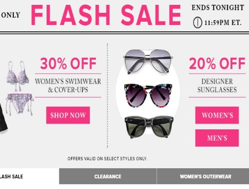 Hudson's Bay Flash Sale 30% Off Womens Swimwear & Coverups + 20% Off Designer Sunglasses