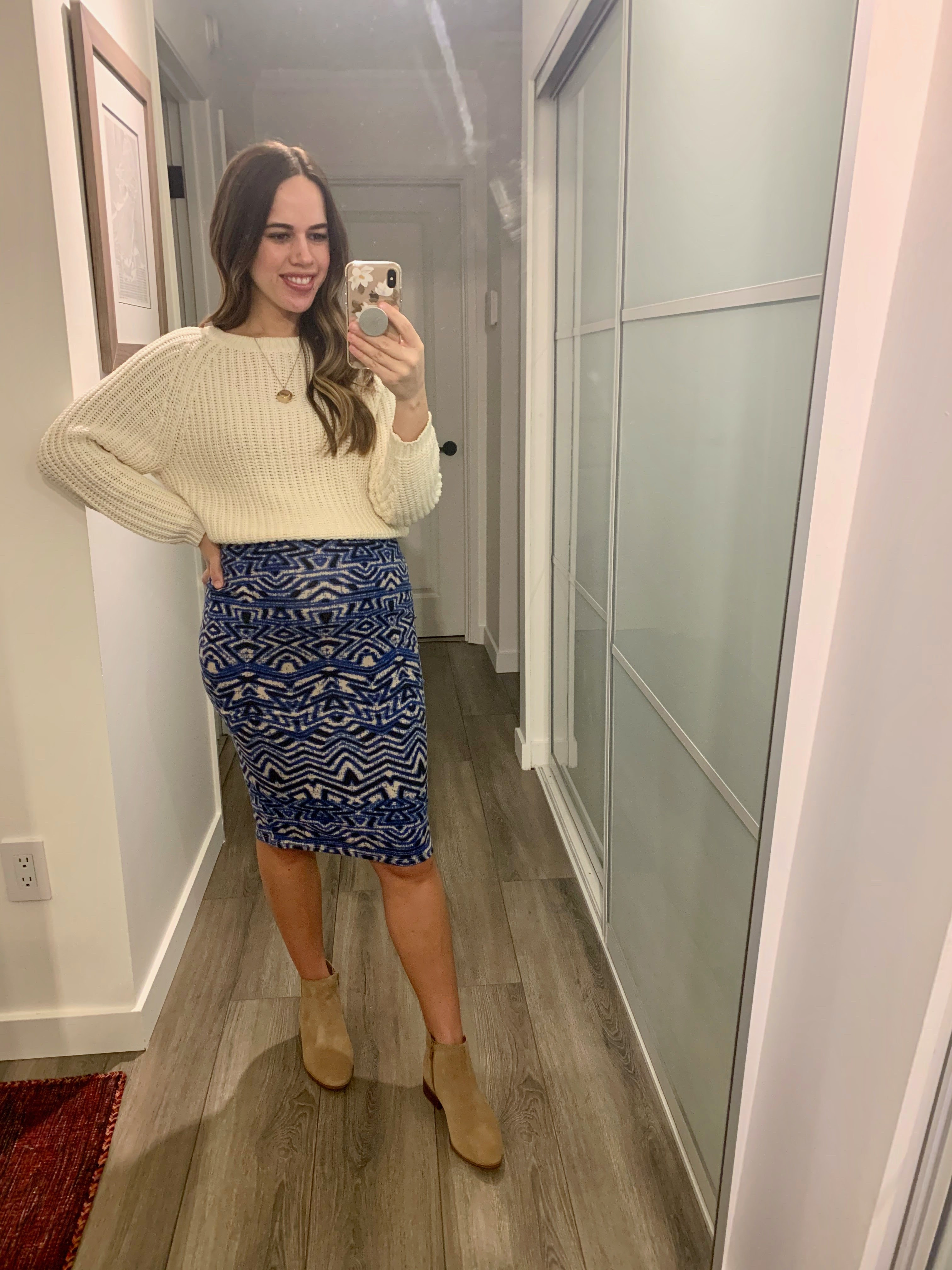 Jules in Flats - Jersey Midi Skirt with Cropped Knit Sweater (Business Casual Workwear on a Budget)