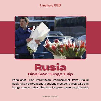 Rusia  Dibelikan Bunga Tulip