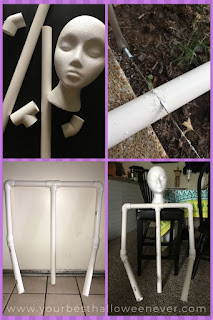 pvc pipe being cut and assembled to make a halloween character prop