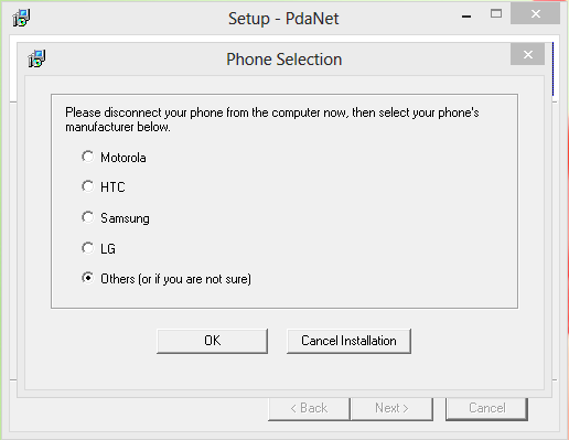 Pilih produk ponsel di PdaNet